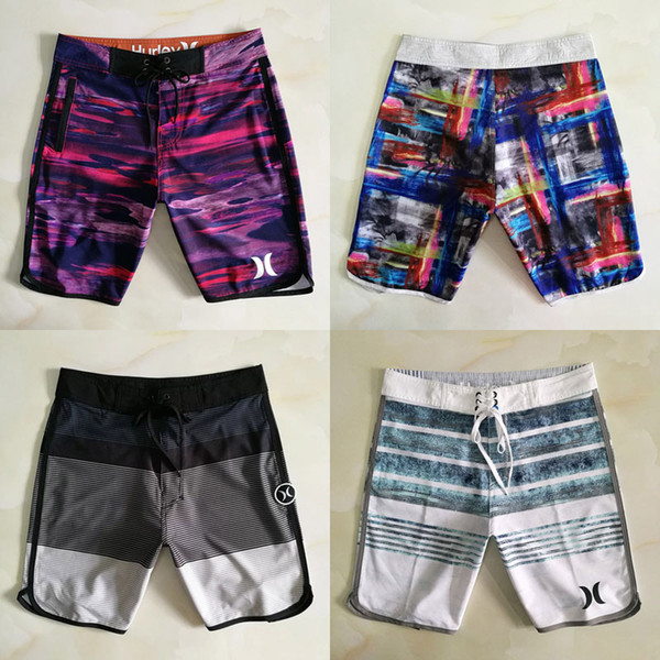 2019 Men Swimwear 12 Colors Elastic Rope Waterproof Quick Drying Striped Straight Tube Beach Shorts Surfing Swimming Trunks Summer