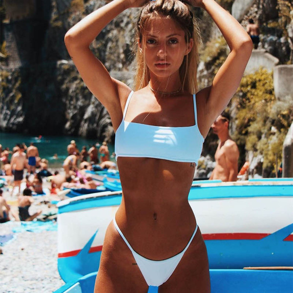 2019 New Sexy Bikinis Set Ladies Solid Striped Swimsuits Breast Pad Sports Bra Designer Beach Bikini Top Quality Summer