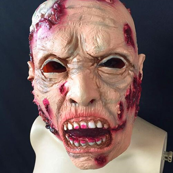 Halloween surprise biological crisis, zombie mask head rotten face brain horror ghost face zombie latex head