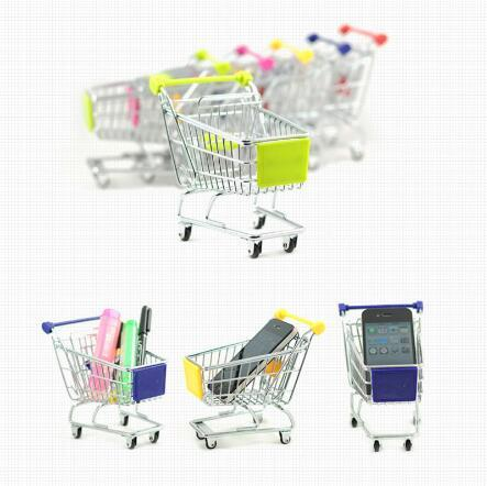 Best price Wholesale small children's mini shopping cart house trolley toy 1 dollar store retail small storage basket toy