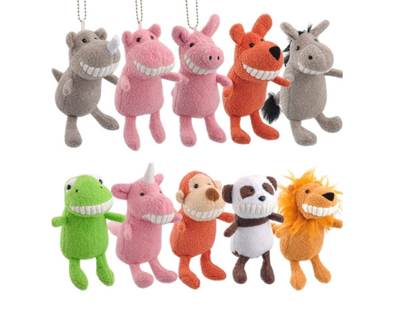 Hot smiling toothy animal Grab doll machine toys plush toy pendants Soft cute teeth toothed toy dog plush desktop toys for doll machine toy