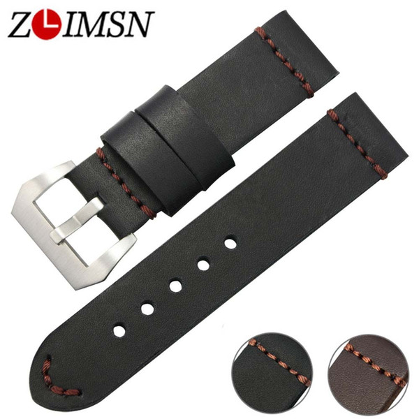 ZLIMSN Black Brown Genuine Leather Watches bands 22mm 24mm Watch Women Straps Silver Brushed Metal Buckles Relojes Hombre TG50