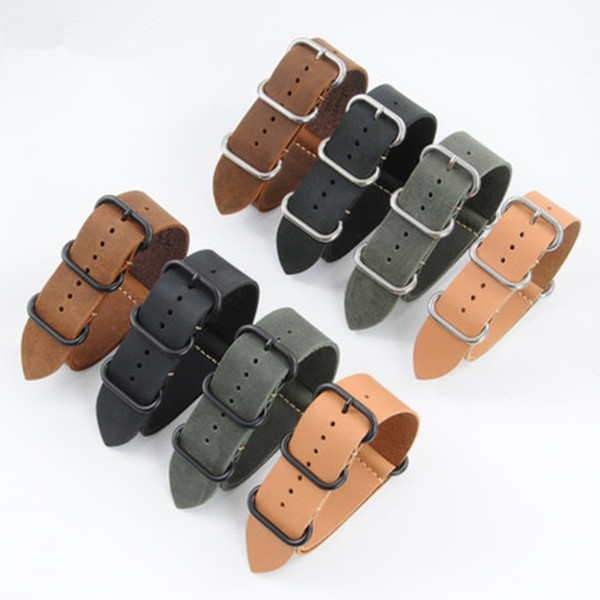 TJP 1PCS 18MM 20MM 22MM 24MM 26MM Green Khaki Black Brown Genuine Crazy Horse Leather Bracelet NATO Watch Strap bands