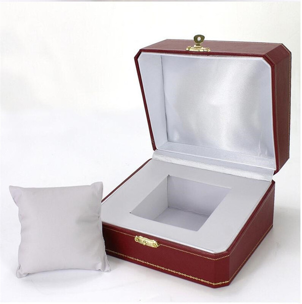 Luxury Wine Red Jewelry Watch Collection Display Storage Showcase Antique Wristwatch Travel Box with Removeable Pillow