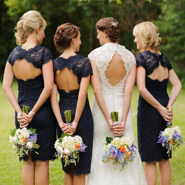 Navy Blue Sheath Column Knee Length Lace Bridesmaid Dresses Open Back Backless Short Sleeve Cocktail Gowns Short Prom 2015 Custom Made