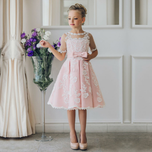 New Arrival Children Skirt White Lace Princess Flower Girl Dresses lace appliques communion dresses girls pageant dresses