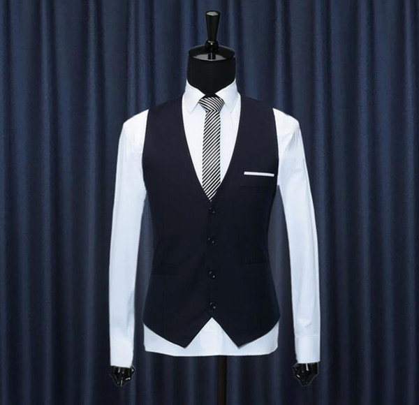 2018 New Arrival Wholesale Grooming Career Suits Vests Men's British Business Men's Suits Vest Waistcoat Wedding Vintage Hot Sales