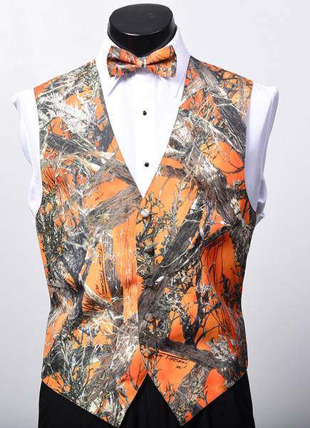 2018 New Arrival Airtailors Fashion Camo Vest for Rustic Wedding Mens Camouflage Dress Vest Plus Size Orange Color