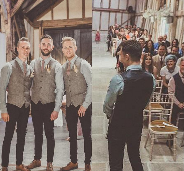 2019 5 Styles Wool Groom Wedding Tweed Vests Custom Made Formal Groom's Suit Vest Slim Fit Waistcoat For Men Groom Wear Plus Size