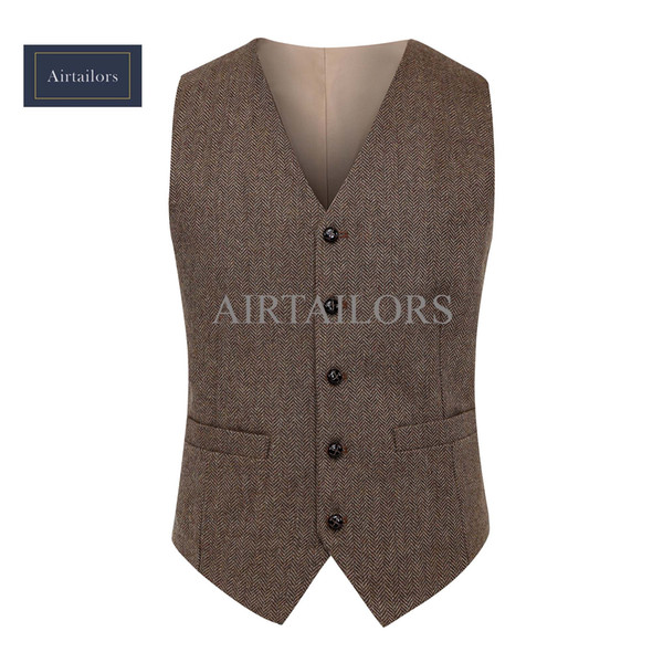 2018 New Vintage Wool Brown Herringbone Tweed Vests Brand Mens Suit Vest Slim Fit Farm Wedding Vest For Men Formal Waistcoat Men