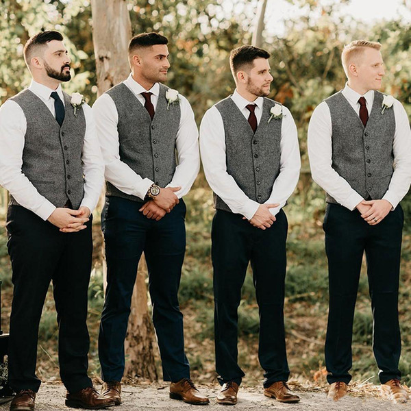 Wholesales- Gray Groom Vests Wool Herringbone Tweed Groomsmen Vest Slim Fit Mens Dress Attire Suit Vest Prom Wedding Party Waistcoat