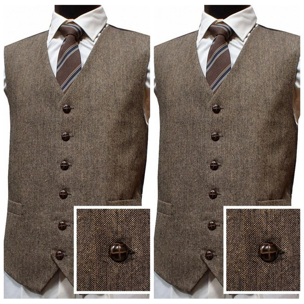 2019 Latest Farm Wedding Wool Tweed Vests Custom Men Groom Vests Slim Fit Mens Dress Suit Vest Prom Wedding Groomsmen Vests Plus Size