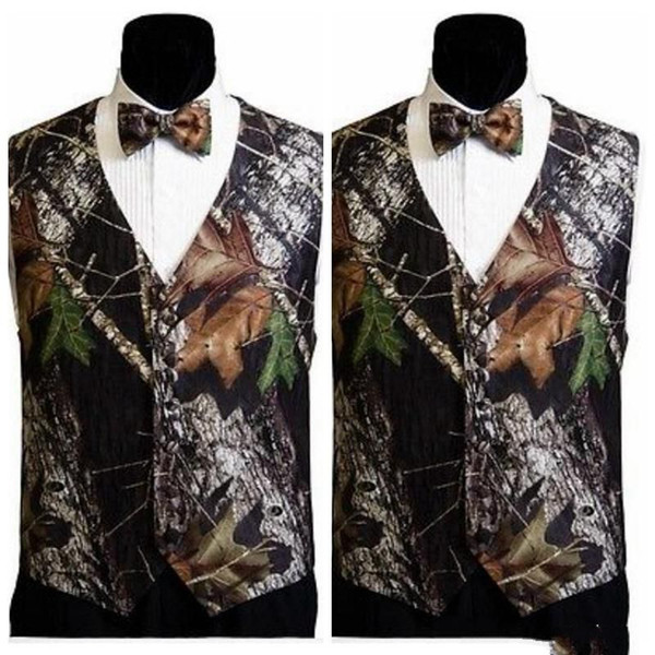 2018 Top Sale Camo Men Vests With Bow Camouflage Groom Groomsman Vest Cheap Satin Custom Formal Wedding Vests Camouflage