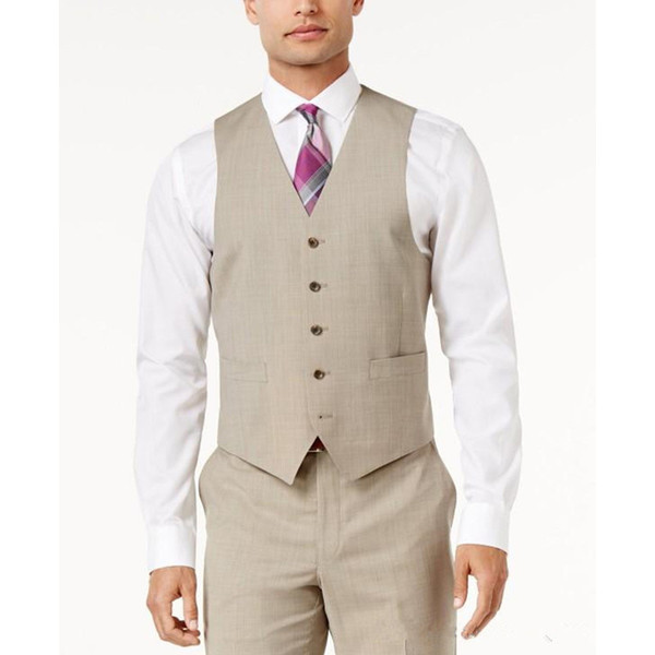Beige Men Suit Vests Casual Sleeveless V Neck Wedding Groomsmen Business Men Suit Foviva Style 12001