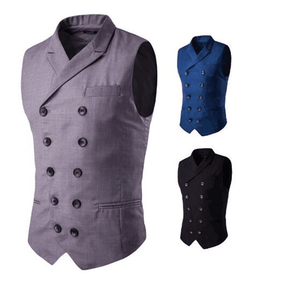 Classic Design Men's Vest Fashion Gentleman Double-Breasted Wedding Wear Men's Casual Vest With Peaked Lapel One Set Per Opp Bag