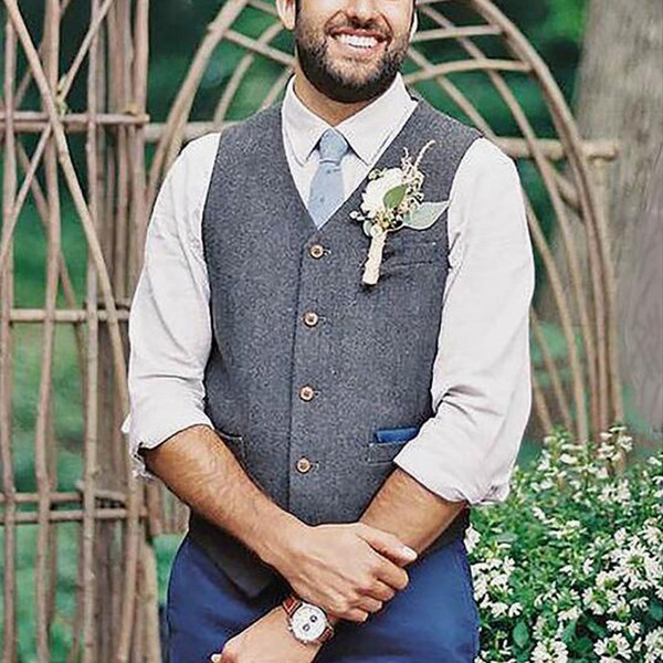 Modern Groom Vests Gray Tweed Wool Herringbone Groom Vests British Style Mens Suit Vests Mens Dress Vest Custom Wedding Waistcoat