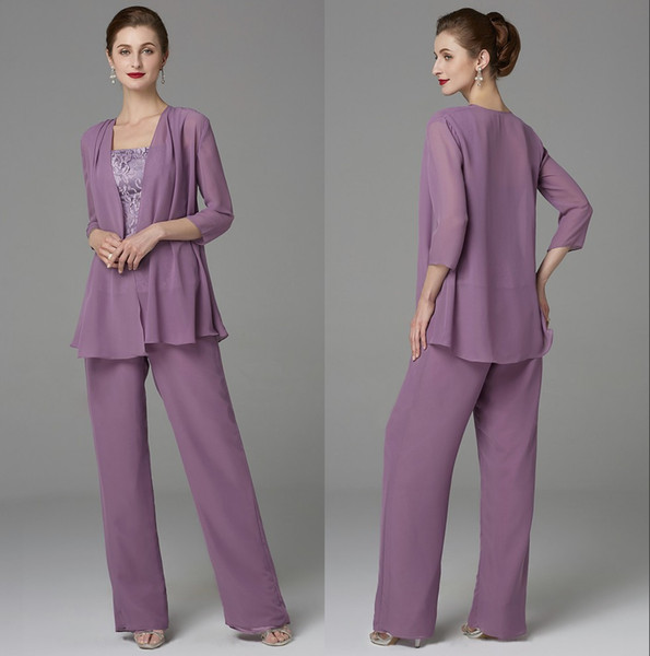 Hot Chiffon Mother of Bride Groom Pant Suits Three Pieces Grape Loose Lace Top Mother Formal Wear Suits with Long Sleeves Jackets