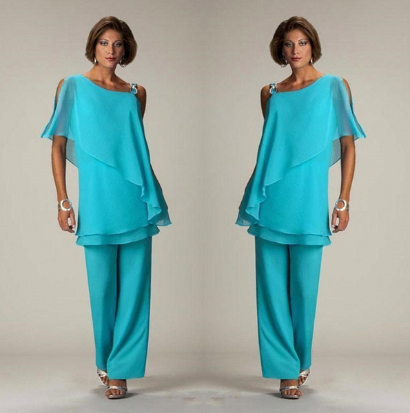 Light Blue Two Pieces Mother of the Bride Pant Suits Layered Ruffles Tops Beaded Chiffon Mother Plus Size Wedding Guest Dress BC1834