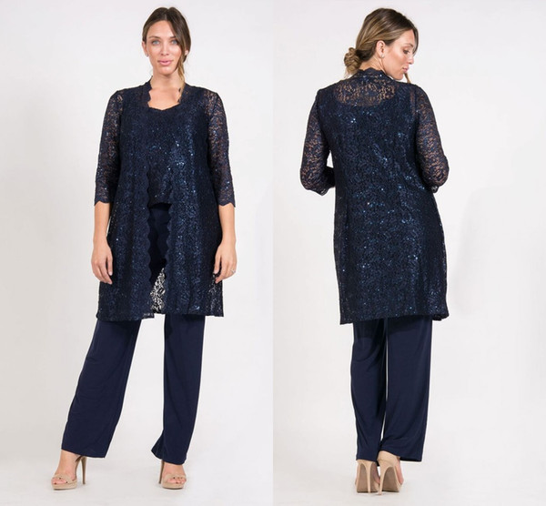 Navy Blue Lace Mother Pants Suit With Jackest Chiffon 3/4 Sleeves Scoop Neck Long Evening Dresses Plus Size Mother Of The Bride Dresses