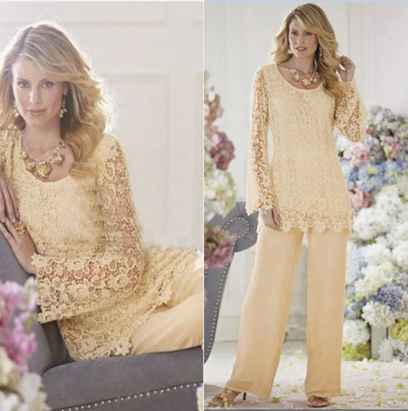 Vintage Long Sleeves Chiffon Mother of the Bride Suits Lace Applique Top Pants Floor Length Formal Party Mother Dresses