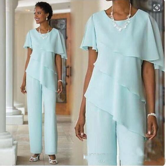 New MInt Green Mother Pants Suits Wedding Guest Dress Chiffon Short Sleeve Tiered Mother of Bride Pant Suits Trousers
