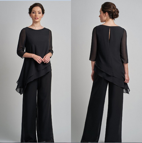 Black Plus Size Chiffon Mother's Pants Suit Cheap Long Sleeves Irregual Mother of The Bride Groom Wedding Guest Party Dresses