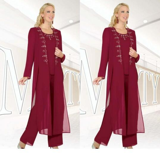 Fuchsia Three-Pieces Mother of the Bride Suits with Jackets Long Sleeve Beaded Chiffon Formal Wear 3 piece mother's pant Custom Made
