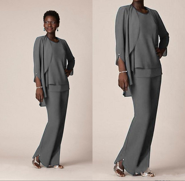 Nigeria Dark Gray Chiffon Mother Of the Bride Suits Custom Made Long Sleeve Pant Suits South Africa Formal Mother Dress with Jacket