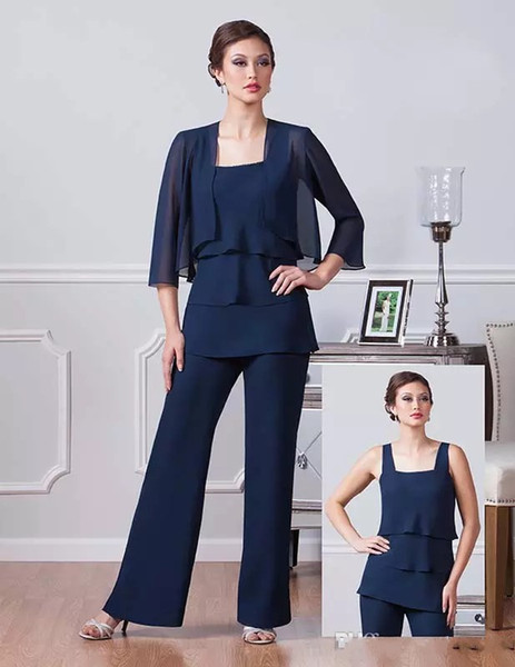 Navy Blue Chiffon Mother Of The Bride Pants Suits Square Neckline Dresses Party Evening For Wedding Mothers Guest Dress Cheap
