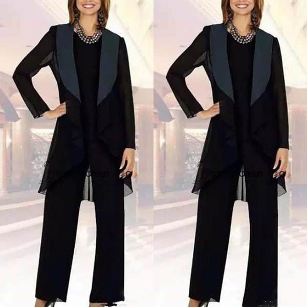 Dark Navy Blue Mom's Pant Suits Lady Evening Party Suits with Long Jacket Lady Evening Dresses Chiffon Mother Of the Bride Pant Suits