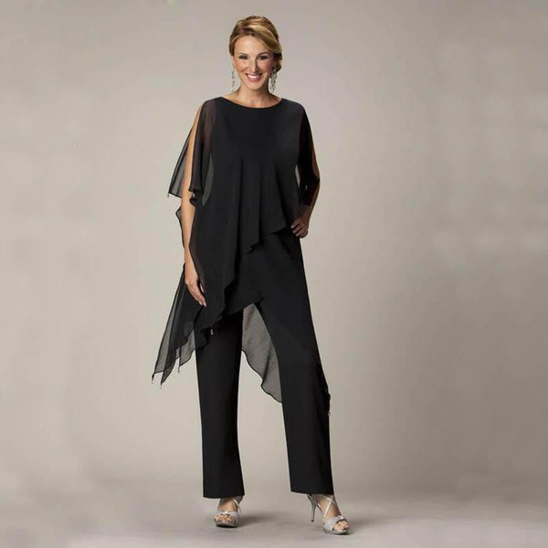 Lady Mom Casual Summer Wear for Women Black Mother Of The Bride Pant Suits Ladies Chiffon Wedding Party Evening Suit Set