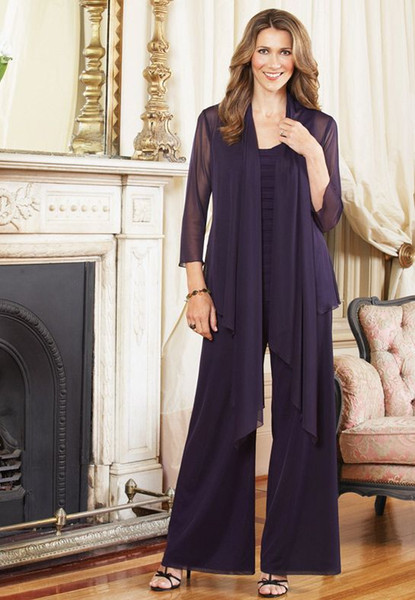 Summer Purple Mother Of The Bride Pant Suits With Long Sleeve Jacket Mother Trousers Formal Outfits Custom Made Evening Suits