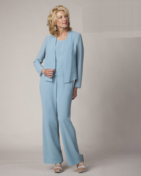 Light Blue Mother Of The Bride Pant Suits Elegant Formal Evening Dresses Plus Size Simple dress AE5217