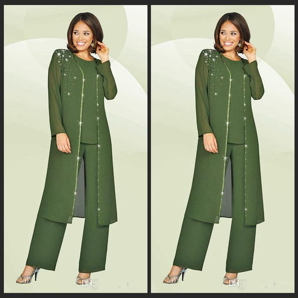 3 Pieces 2019 Chiffon Mother Of The Bride Pant Suits Jewel Long Sleeves Army Green Plus Size Mother Dress Evening Party Gowns Cheap