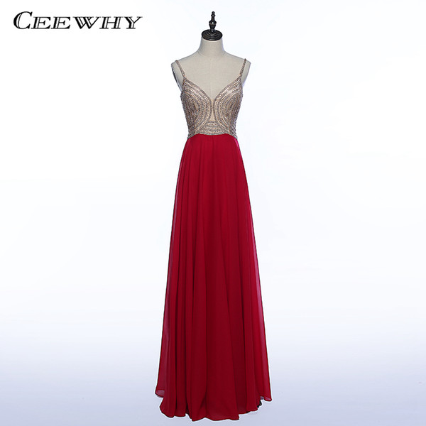 CEEWHY Sweetheart Beading Formal Gown Chiffon Evening Party Dress Prom Dresses Abiye Vestido Longo Vintage Evening Dresses Long