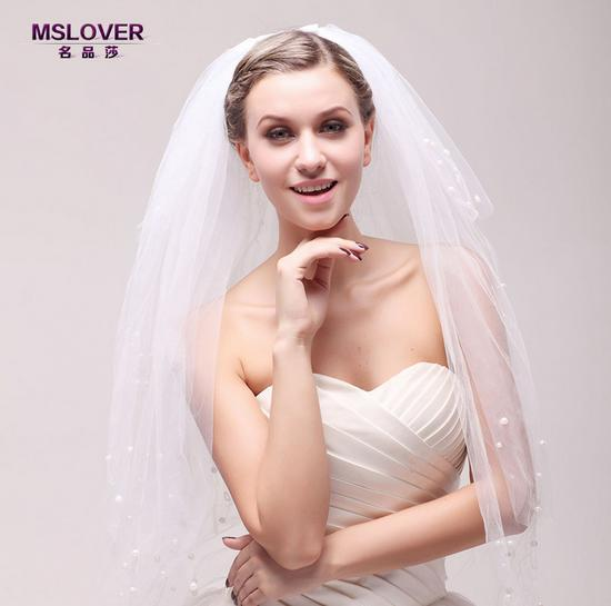 Wholesale hot Bridal wedding accessories 100cm Four layers waterfall style beadbond Net Yarn bridal veil ts121102