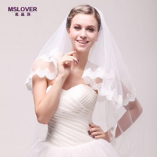 Wholesale hot Bridal wedding accessories 110cm double layer lace edge Exquisite and exalted bridal veil TS120345
