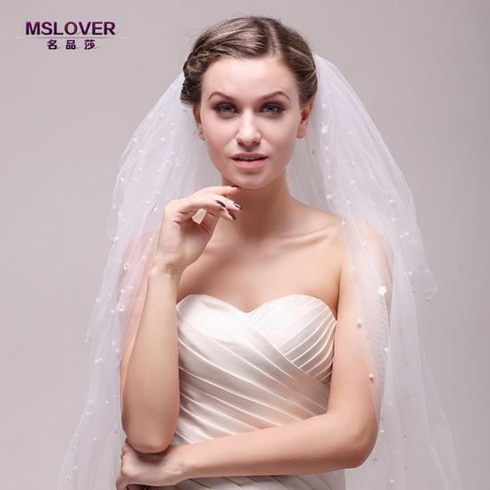 Wholesale hot Bridal wedding accessories 150cm extra long waterfall style pearl bridal veil ts121143