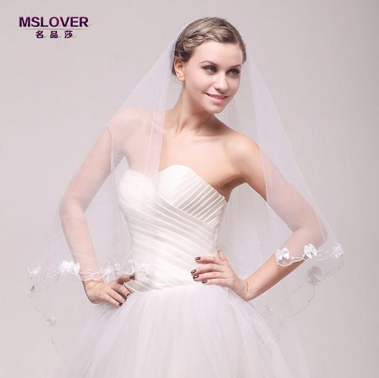 Wholesale hot Bridal wedding accessories 3m extra long noble and elegant single layer lace bridal veil ts121117