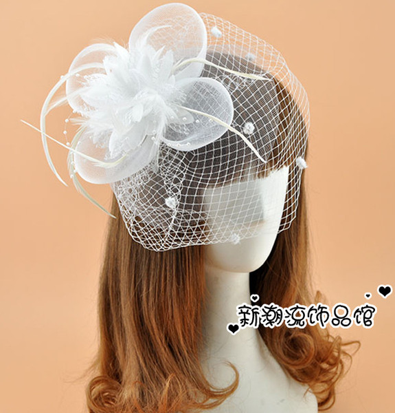 Free Shipping Hot Sale White Black Red Birdcage Net Bridal Veils Wedding Bridal Fascinator Face Veils Feather Flower with Hairpins