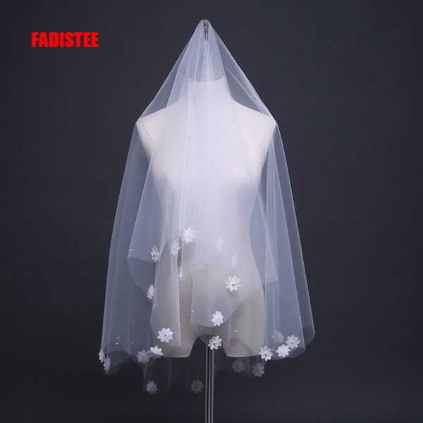FADISTEE hot sale Bridal Accessories wedding party Bridal Veils pearls Satin Flowers one layer tulle elengant veils