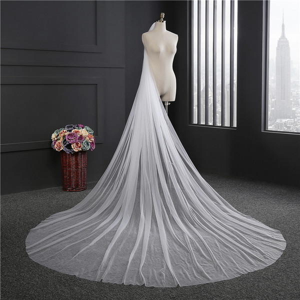 2018 Elegant Wedding Veil 3 Meters Long Soft Bridal Veils With Comb One-layer Ivory White Color Bride Wedding Accessories