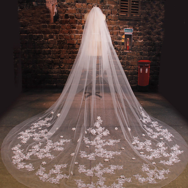 New Arrive Bride Veil Long Length Elegant Lace Beaded Long Wedding Veil Fashion Long Wedding Veil