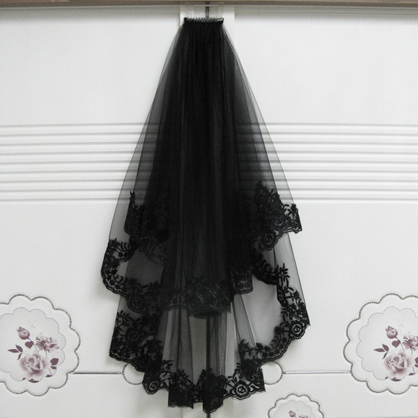 Short Wedding Veils Halloween Decoration Black with Comb Two Layer Lace Appliques Hair accessory Mariage Bride Veils 65cm-85cm 2018 New