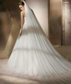 wholesale 3 m long double layer white soft net long section of the bride trailing veil TS135
