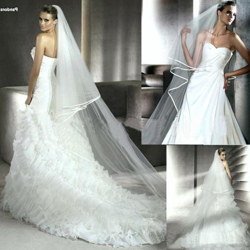 Wholesale Bridal single layer veil + comb ribbon ribbon side long section of tail veil white TS722