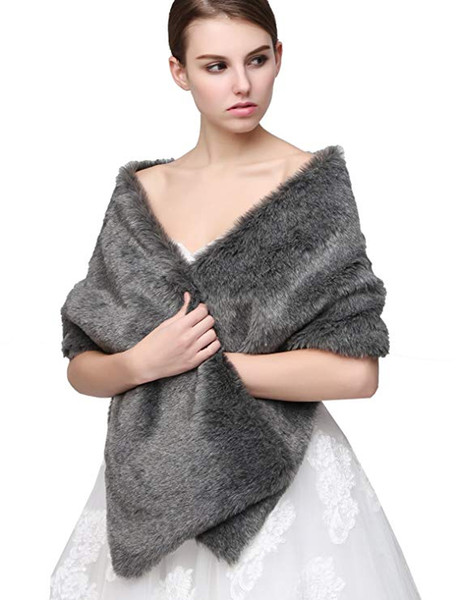 ClearBridal Women's Faux Fur Wrap Shawl Cape Party Or Wedding In Grey 17005