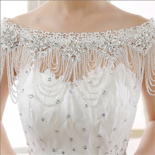 2019 Sheer Beaded Crystal Cape Shawls Bling Wedding Wraps Bridal Jackets Real Picture Cheap Custom Made