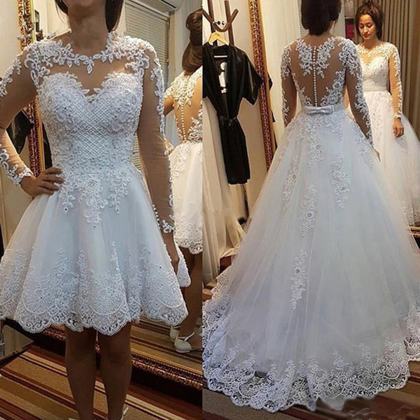 2019 New Detachable Train Princess Vestido De Noiva Lace Appliques Pearls Bridal Gowns 2 in 1 Ball Gown Wedding Dresses DA062