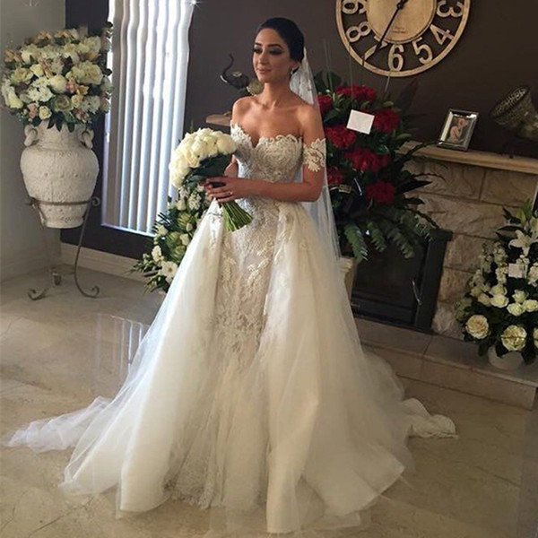 Wedding Dress With Detachable Train A Line Short Sleeve Tulle Floor Length Lace Wedding Dresses Bridal Gowns Robe De Mariée DA058